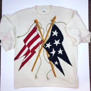 Vintage Jones NY cream USA flag chunky sweater